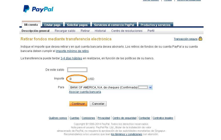 Importe a retirar desde Paypal